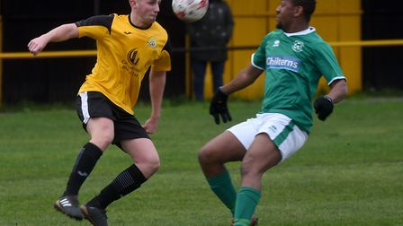 Drew Barker in action during March Town's match against Lakenheath last Saturday. Picture: IAN CARTE