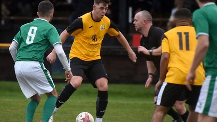 Jack Rawson on the ball as March Town were held to a 1-1 draw by Lakenheath last Saturday. Picture: