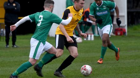 Craig Gillies on the ball for March Town against Lakenheath. Picture: IAN CARTER
