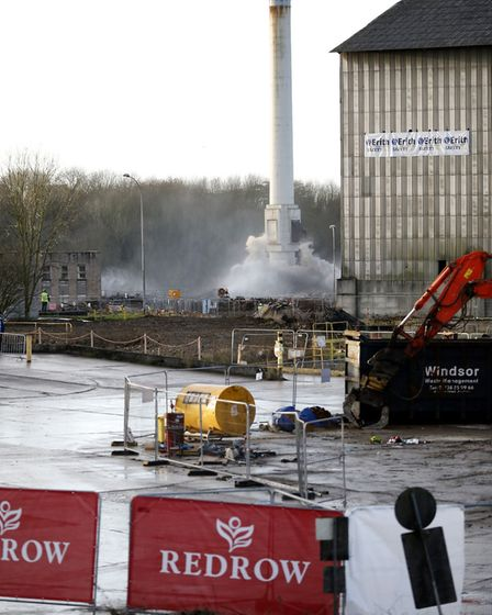 The iconic Barrington chimney was demolished today (December 20). Picture: RED CROW