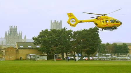 The air ambulance was called to Ely after a woman went into cardiac arrest at a home in Archery Cres
