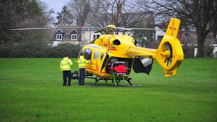 East Anglian Air Ambulance at the scene of an incident in March today (December 27). Picture(s): HAR
