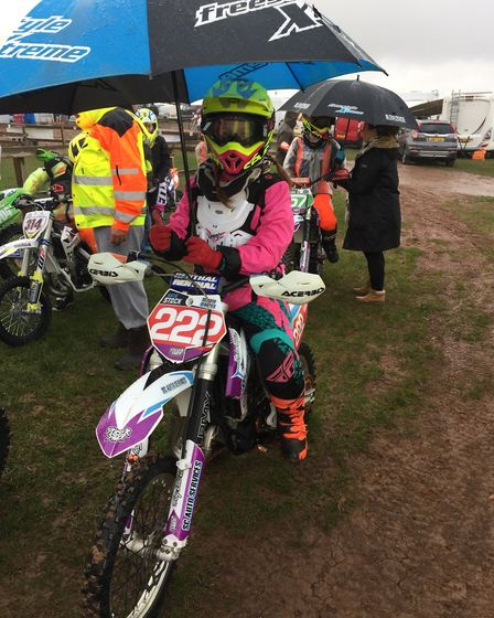 Dunmow's Katie Stock at the UK Girls' Motocross Championship event in Duns, Scotland