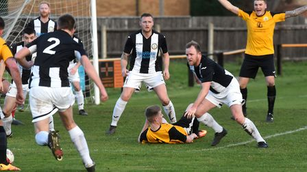 March striker Craig Gillies appeals for the penalty which he converted to put them ahead against Swa