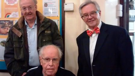 Colin Wills with his father, Dr Arthur Wills, a patron of Ely Choral Society, and the conductor Andr