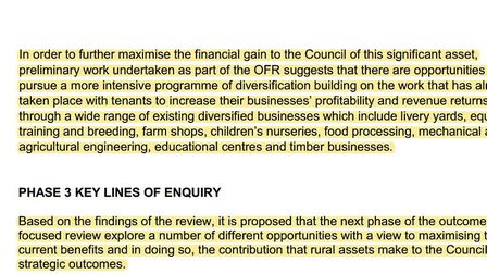 Extracts from Rural Assets Outcome Focused Review presented to the commercial and investments commit