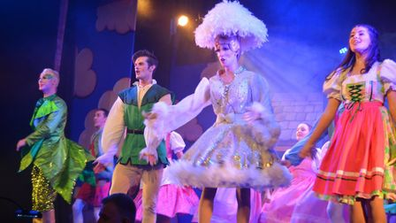 The KD Theatre Productions cast of Jack and the Beanstalk on stage at The Maltings during the gala n
