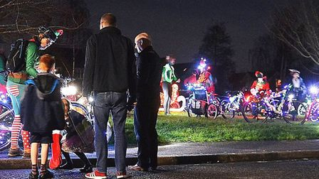 Santa cycled his way around Burwell with a little help from his elves and reindeer providing the ped