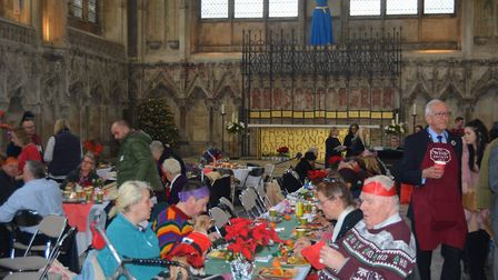 Community join together for Christmas Day dinner at Ely Cathedral. Picture: MIKE ROUSE