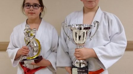 Bella Rayner and Yonas Aldous with their Jigoro Kano and Spirit of Judo awards at Witcham Judo Club