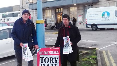 Ely rail fare protest 2019 by members of the Labour Party.
