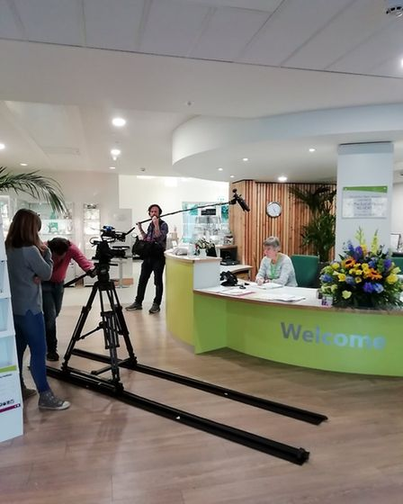 The Mill River TV team filming at Arthur Rank Hospice. Upon first visiting the Hospice to discuss th