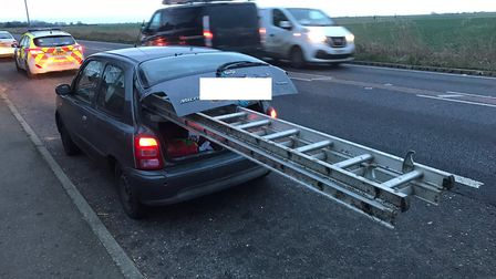 This Nissan Micra was stopped by Fenland police on the A47 yesterday evening (January 7) after it wa
