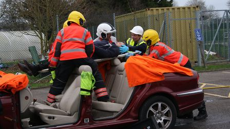 Students at Witchford Village College were taught a lesson in road safety by Cambridgeshire Fire and