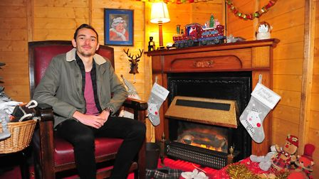 Reporter Ben Jolley in Santa's grotto. All animals welcome to meet Santa Paws this Christmas at Skyl