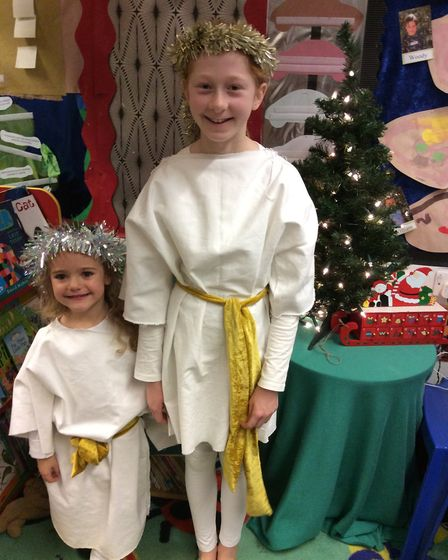 Pupils in year 6 and below at Great Dunmow Primary School get ready to star in their nativity. Pictu