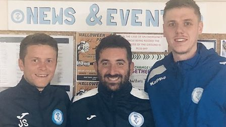 Chatteris Town boss Alex Kaufman with new signings Jack Saunders (left) and Ben Matthews (right) ear