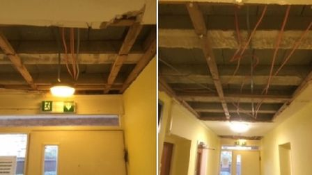 Elderly residents left with no ceiling in Ely housing block. Picture: CHARLIE BISSETT