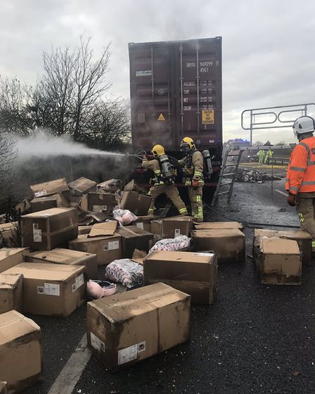 An artic lorry transporting underwear, including thousands of women's bras, caught fire on the A14.