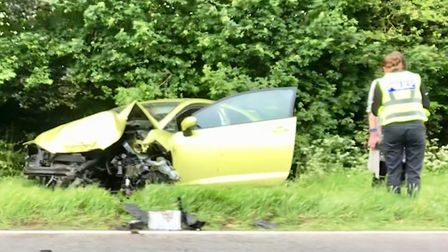 Crash on the A141 Isle of Ely Way at Chatterus which has been the scene for numerous collisions amon