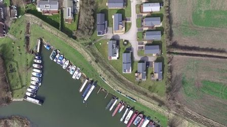 Aerial view of the Dream Lodges holiday homes at Lazy Otter Meadows, near Ely; they are not connecte