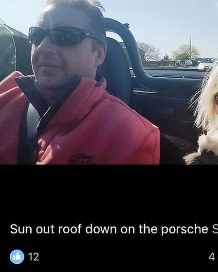 Les Crofts in a Facebook post about riding out in his Porsche PHOTO: Submitted