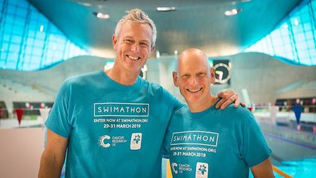 Olympians Mark Foster and Duncan Goodhew encourage swimmers to make a splash for charity in Cambridg