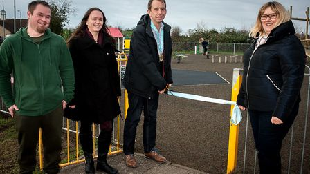 Sutton play park was officially opened by Cllr Mark Inskip, chairman of Sutton Parish Council, who c