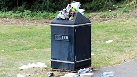 An East Cambs District Council bin that is over flowing in Ely.Picture: EAST CAMBS DISTRICT COUNCIL