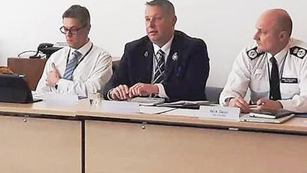 Jason Ablewhite (centre) at a police committee this week; he says 2,086 people responded to a survey