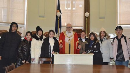 Chinese students visit the Sessions House in Ely in a tour led by Mayor, Councillor Mike Rouse.
