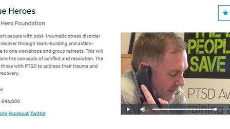 Co-founder of PTSD999 Simon Lee taking part in a film for Anglia TV to campaign for a successful £46