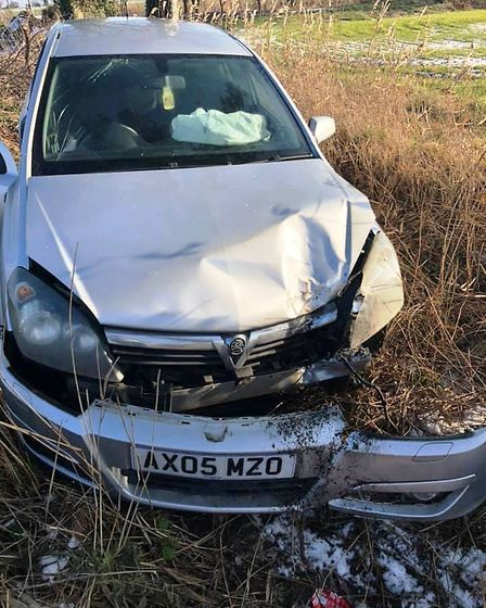 Matty Alexander's car slid on early morning ice and crashed into a tree. When he went to get it the