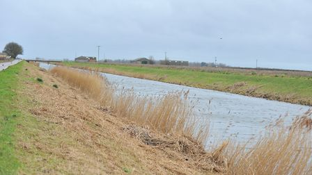 Sixteen Foot Bank near Stonea where a vehicle went into the water last night (February 7). Picture: