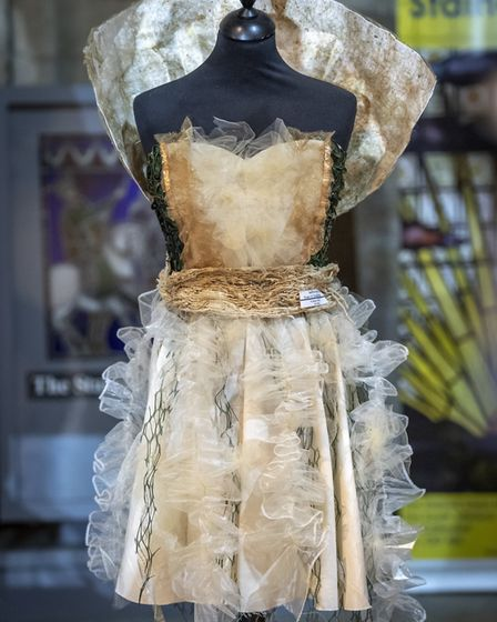 A display of fashion and textiles at Ely Cathedral offers visitors a peek at clothing from the 16th