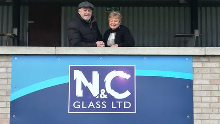 Nick Flack of N & C Glass is pictured with Soham Town Rangers chairperson Karen Prewett.