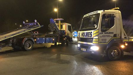 The two-vehicle crash which blocked the Guyhirn roundabout on Saturday, January 19. Picture: TWITTER