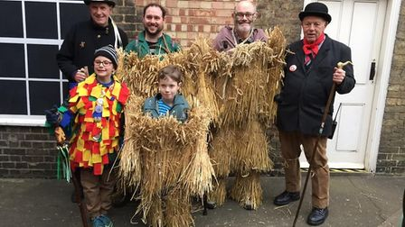 The 40th Whittlesey Straw Bear Festival in 2019. Back row left to right: Paul Cornell, Douglas Kell