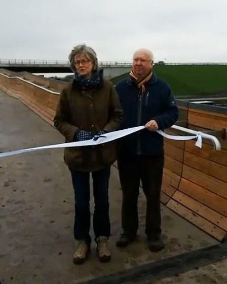 An impressive new walkway next to the Ely Southern Bypass made of 252 tonnes of steel and capturing