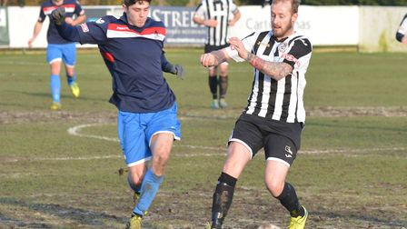 Josh Dawkin (right) has joined Soham Town Rangers on a dual registration deal from St Ives Town.
