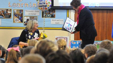 The special assembly held for Marilyn Simpson (left) who has worked at Cavalry Primary School in Mar