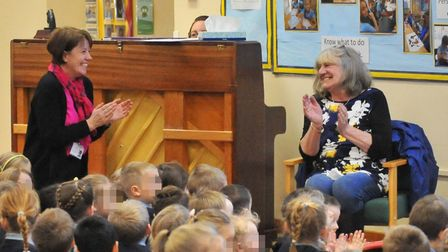 The special assembly held for Marilyn Simpson (right) who has worked at Cavalry Primary School in Ma