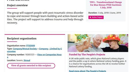 PTSD999: These are the refences on the National Lottery Community Fund pages showing the awards to P