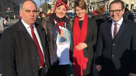 Sling The Mesh rally before going in to question time in the House of Lords. Kath Sansom seen with M