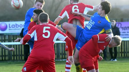 Action from Ely City's narrow defeat to Histon. Picture: IAN CARTER