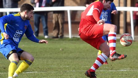 Alex Batten on the ball for Ely City against Histon. Picture: IAN CARTER