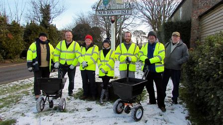 Community gritting team at Newton In The Isle. Caption:- Newton-in-the-Isle Community Gritting Volun
