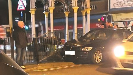A suspected drunk driver crashed his BMW into two cars before ploughing into railings at the fountai