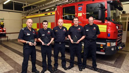 March fire crew with their awards: crew commander Wayne Marshall, firefighter Jordan Sutton, crew co