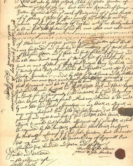 The receipt of sold land for the second parallel drain. The date of this receipt is April 7 1657. Re